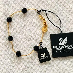 Swarovski Gold-tone Black Crystal Station Bracelet